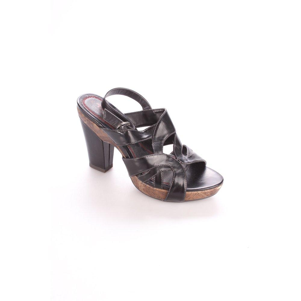 tamaris riemchen sandaletten schwarz cognac casual look. Black Bedroom Furniture Sets. Home Design Ideas