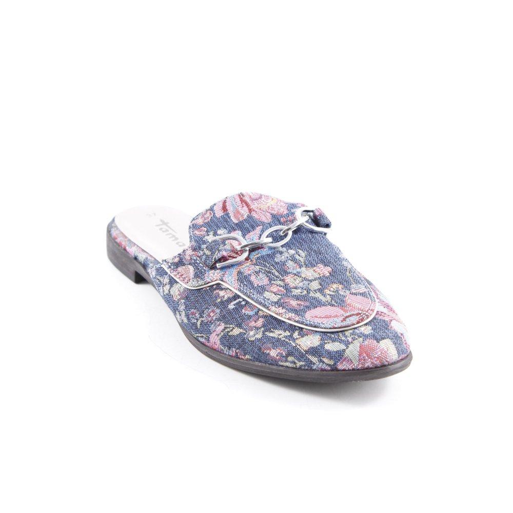 détaillant en ligne 960a1 40a27 Détails sur TAMARIS Sabot motif floral style décontracté Dames T 37 bleu  acier Mule