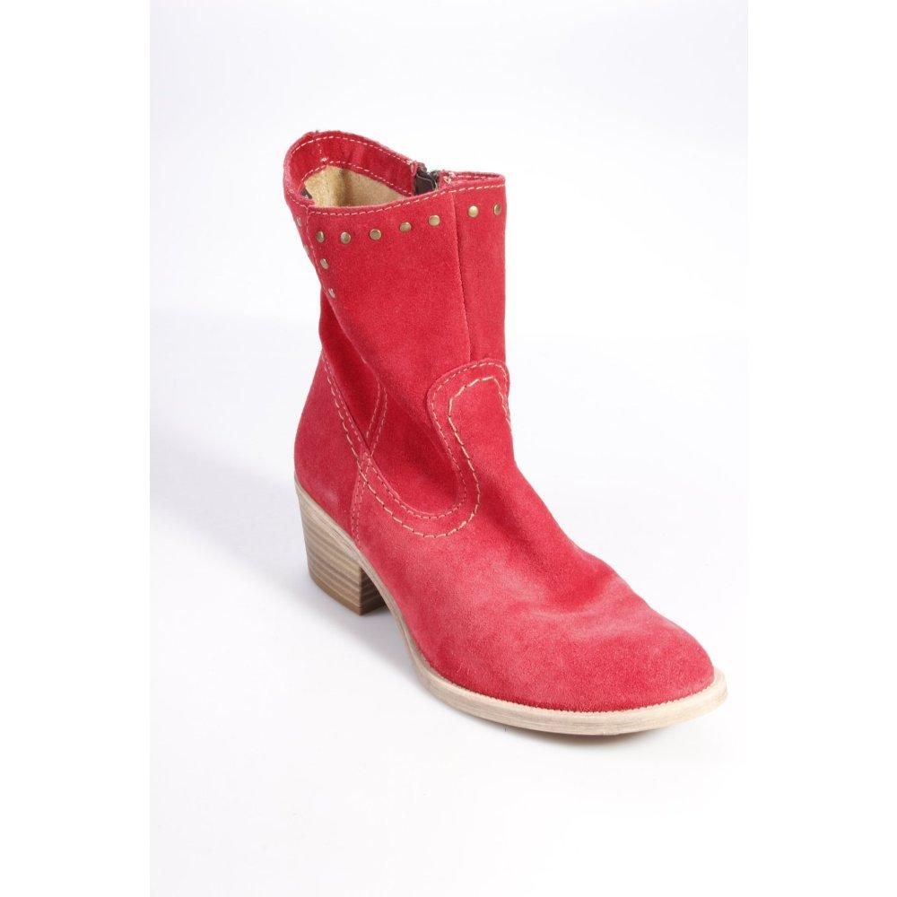 tamaris stiefeletten rot damen gr de 37 booties leder western stiefeletten ebay. Black Bedroom Furniture Sets. Home Design Ideas