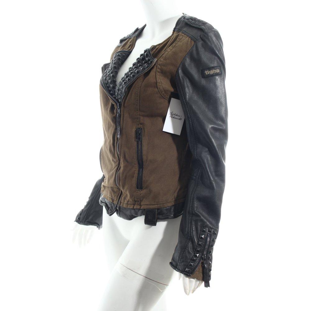 tigha lederjacke schwarz olivgr n biker look damen gr de 40 jacke jacket leder ebay. Black Bedroom Furniture Sets. Home Design Ideas