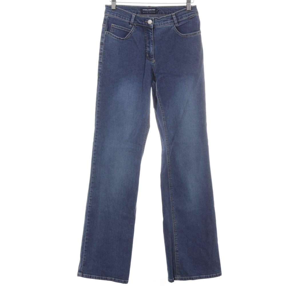 Dettagli su TOM TAILOR Pantalone a zampa d'elefante multicolore stile jeans Donna