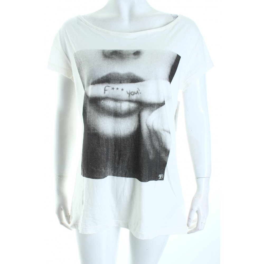 tom tailor t shirt white black themed print casual look women s size. Black Bedroom Furniture Sets. Home Design Ideas