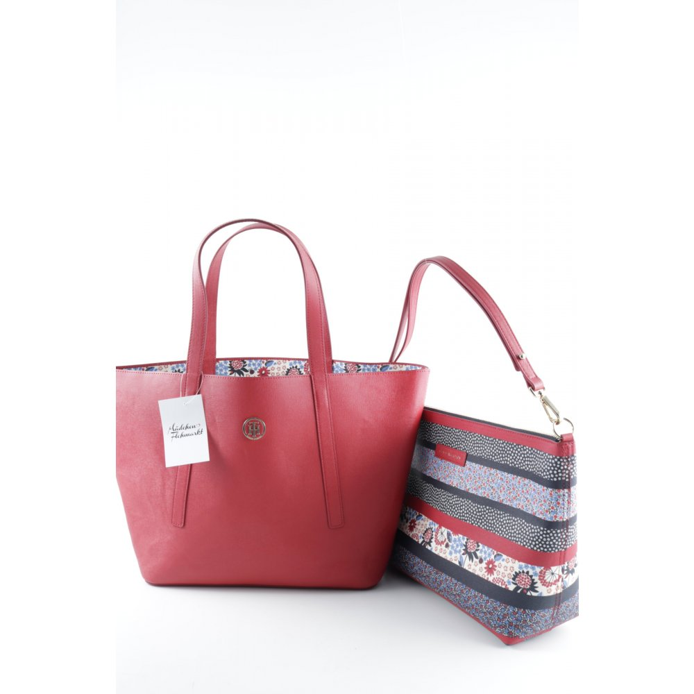 tommy hilfiger handtasche tommy bag in bag red floral stripe rot damen tasche ebay. Black Bedroom Furniture Sets. Home Design Ideas