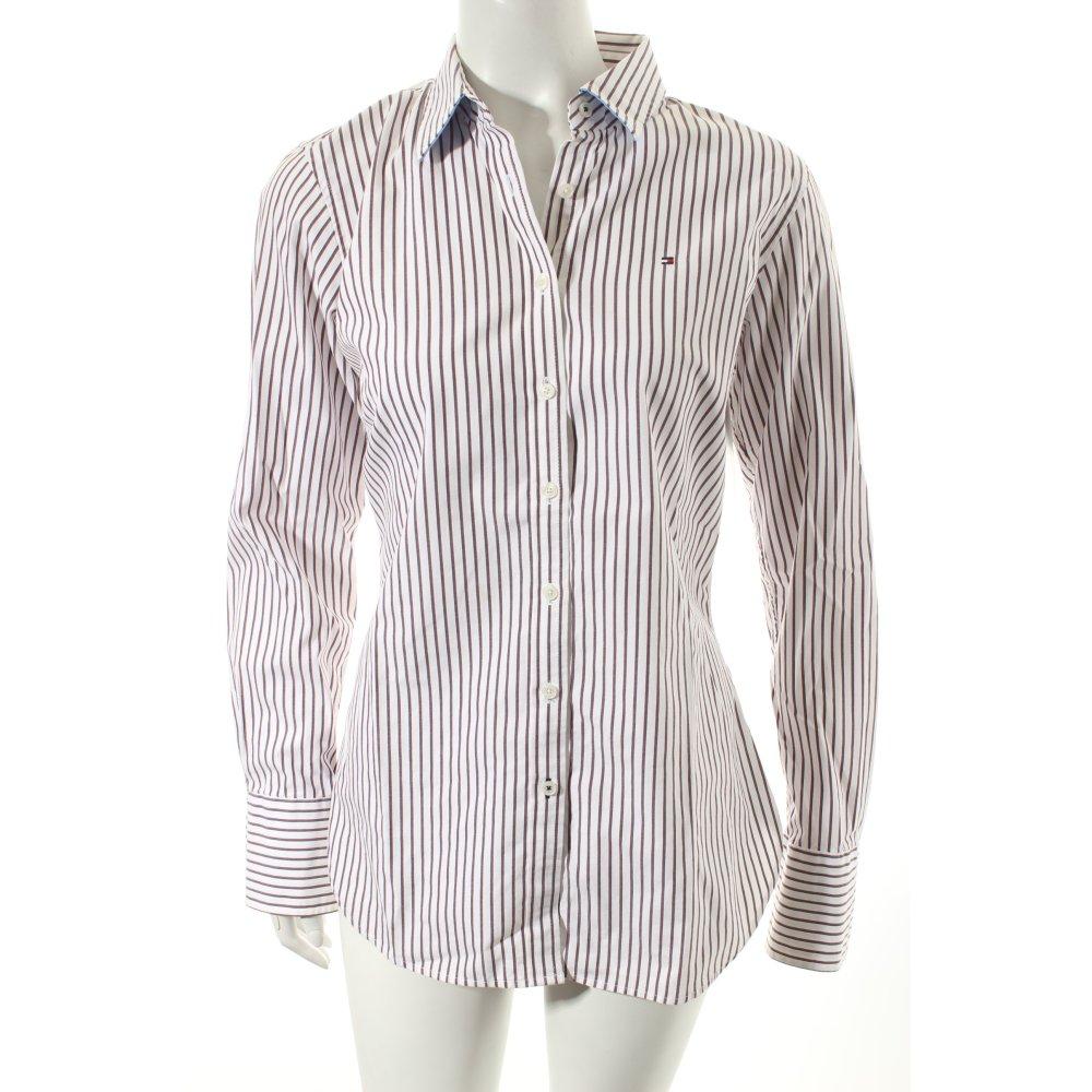 tommy hilfiger hemd bluse streifenmuster klassischer stil damen gr de 38 wei. Black Bedroom Furniture Sets. Home Design Ideas