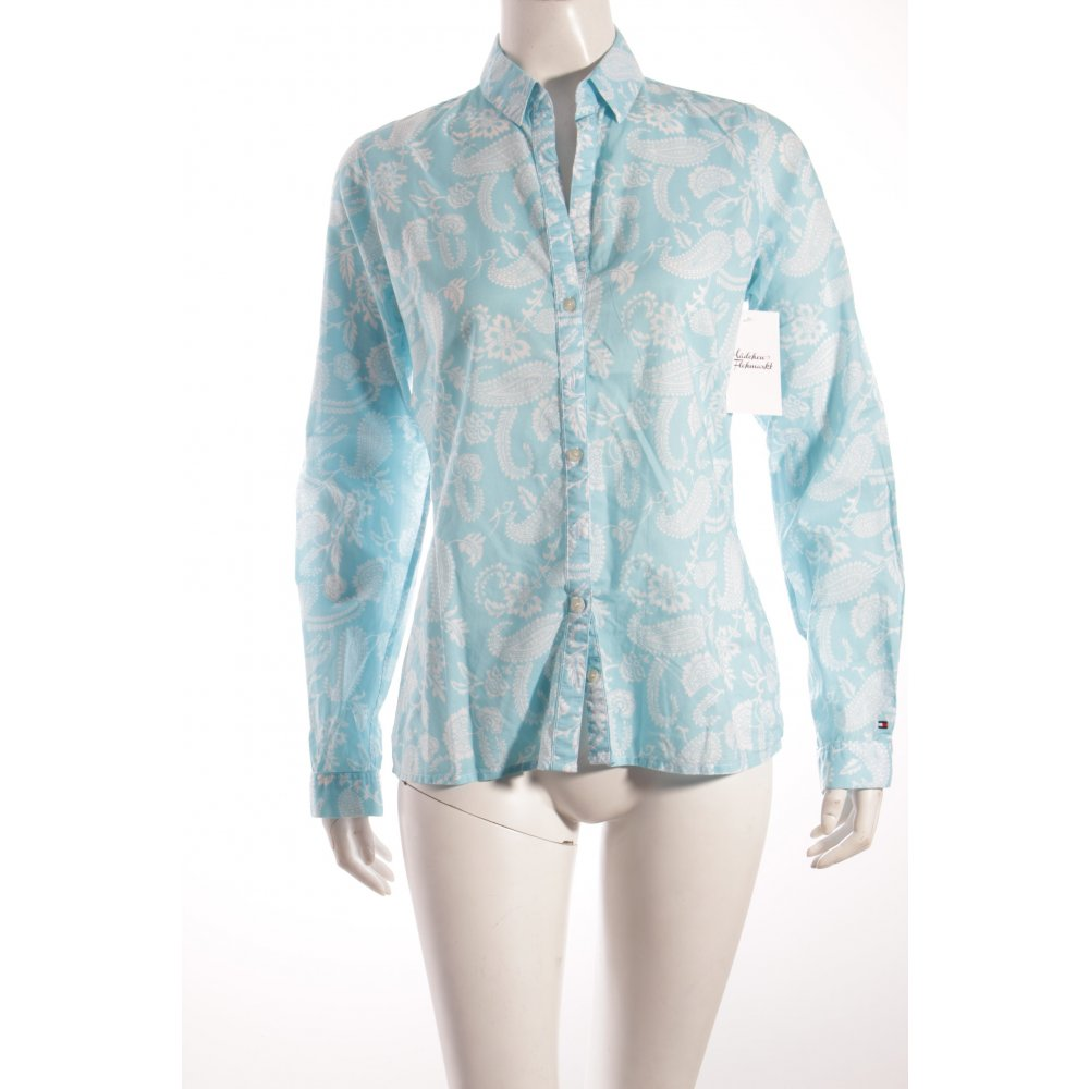 tommy hilfiger shirt blouse turquoise white paisley pattern women s. Black Bedroom Furniture Sets. Home Design Ideas