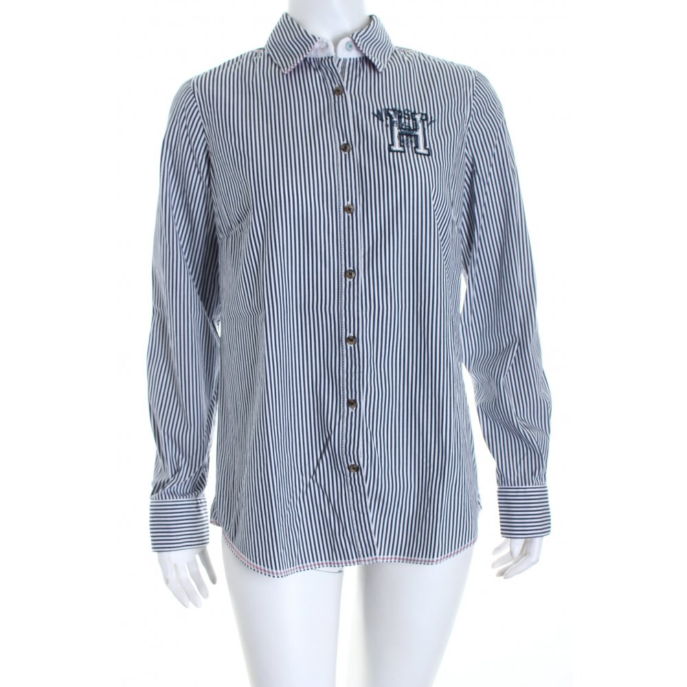tommy hilfiger hemd bluse wei blau streifenmuster. Black Bedroom Furniture Sets. Home Design Ideas