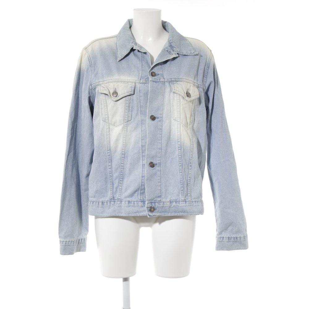 reputable site 2b433 7b902 Details zu TOMMY HILFIGER Jeansjacke himmelblau-creme Streifenmuster  Jeans-Optik Damen