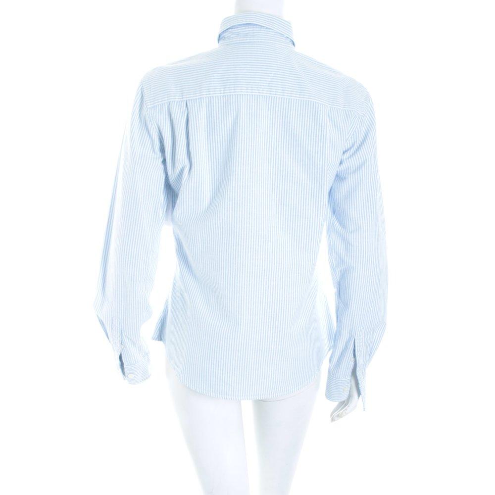 Tommy hilfiger langarm bluse hellblau wei streifenmuster for Klassischer stil