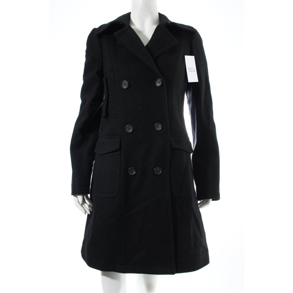 tommy hilfiger wintermantel schwarz klassischer stil damen gr de 38 mantel coat ebay. Black Bedroom Furniture Sets. Home Design Ideas
