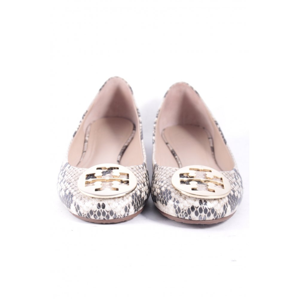 tory burch ballerinas beige black reptile print women s size uk 6 5 shoes ebay. Black Bedroom Furniture Sets. Home Design Ideas