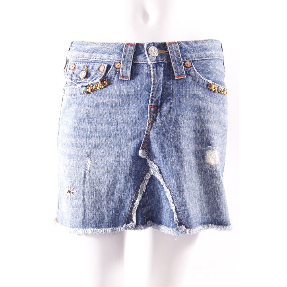 true religion denim skirt with beads women s size uk 8 steel blue cotton ebay. Black Bedroom Furniture Sets. Home Design Ideas