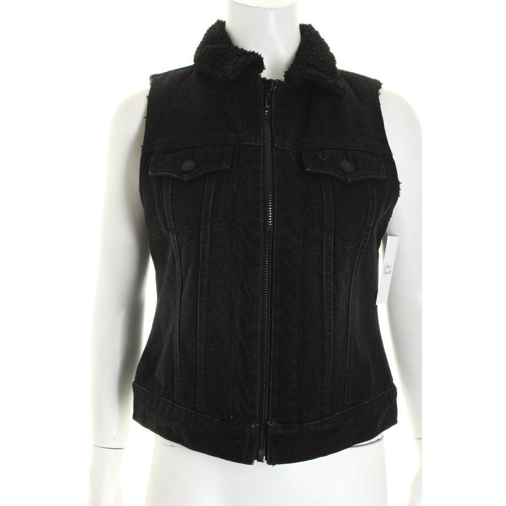 true religion jeansweste schwarz street fashion look damen gr de 36 weste vest. Black Bedroom Furniture Sets. Home Design Ideas