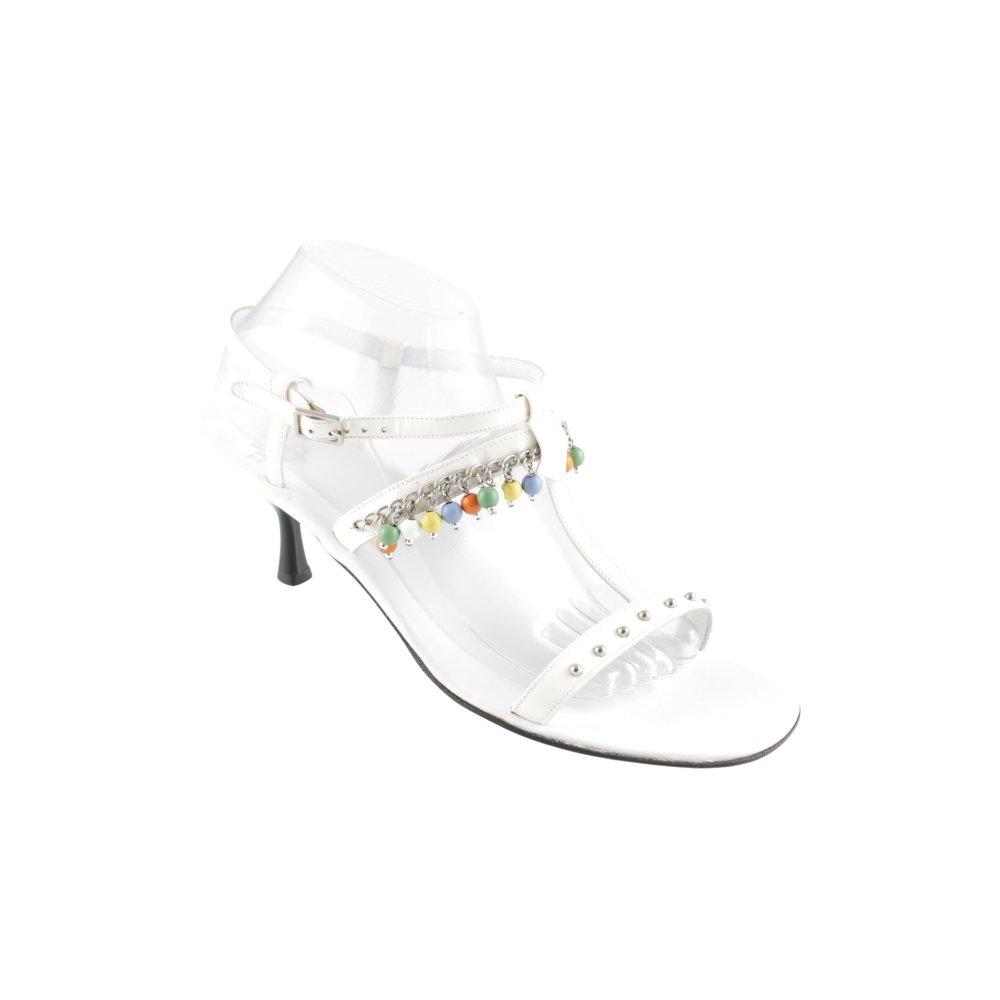 TRUMANS Sandalo con cinturino e tacco alto biancoargento stile stravagante