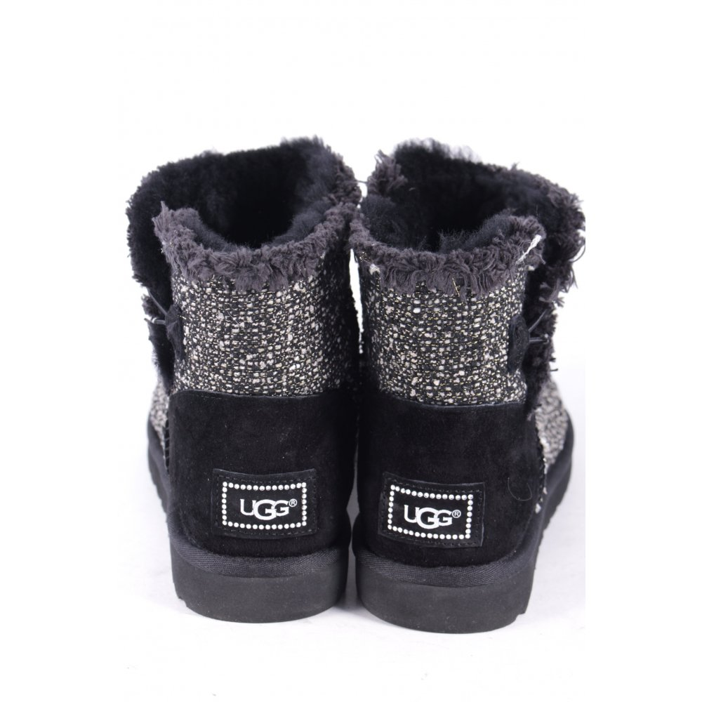 ugg australia boots w 39 s mini bailey button fancy black 40 women s shoes ebay. Black Bedroom Furniture Sets. Home Design Ideas