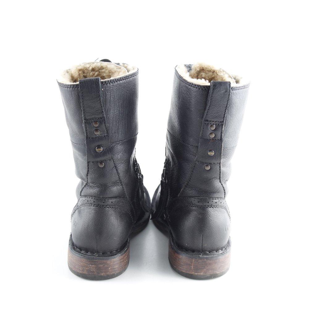plus de photos dbfa2 13297 Détails sur UGG Bottes à lacets noir style campagnard Dames T 36 Botte  haute cuir