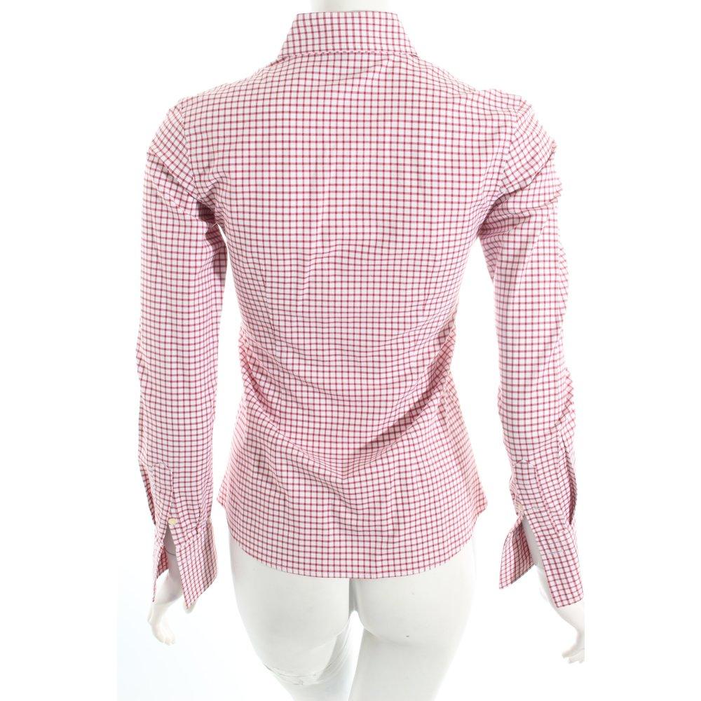 Umani blusa camisa blanco rojo oscuro estampado a cuadros for Cuadros estilo clasico