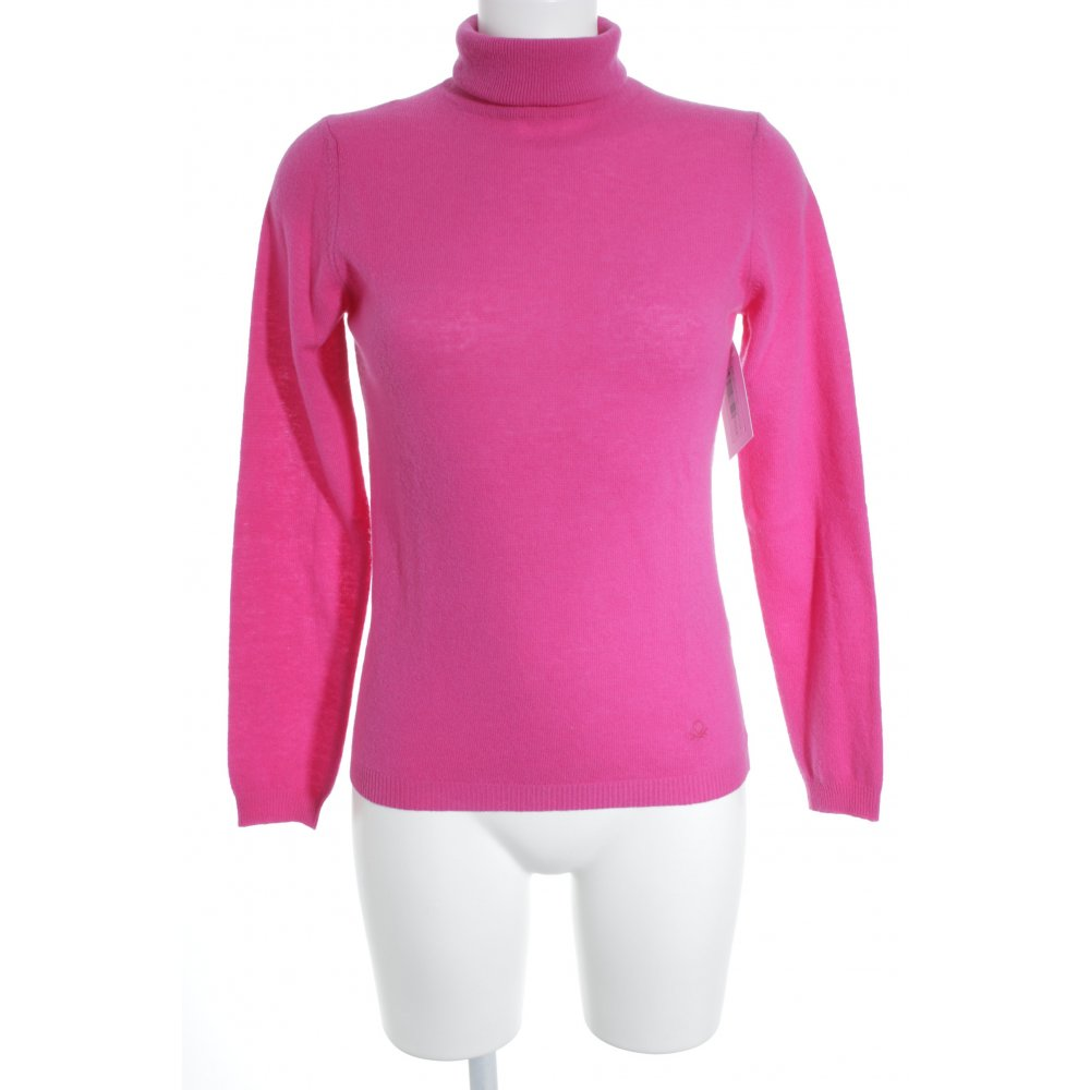official photos fa7f4 38edc Dettagli su UNITED COLORS OF BENETTON Maglione dolcevita magenta stile  casual Donna