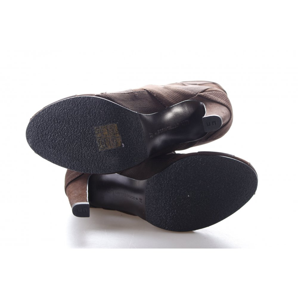united nude slip on booties brown classic style women s size uk 4 ebay. Black Bedroom Furniture Sets. Home Design Ideas