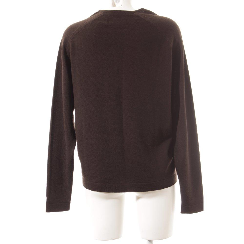 V ausschnitt pullover dunkelbraun klassischer stil damen for Klassischer stil