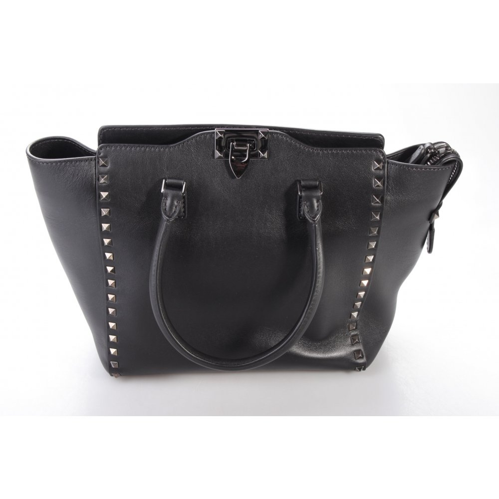valentino rockstud tote medium black henkeltasche schwarz damen tasche bag leder ebay. Black Bedroom Furniture Sets. Home Design Ideas