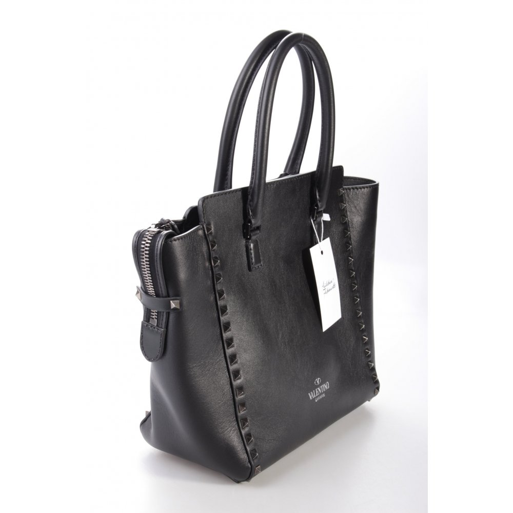 valentino rockstud tote medium black henkeltasche schwarz. Black Bedroom Furniture Sets. Home Design Ideas