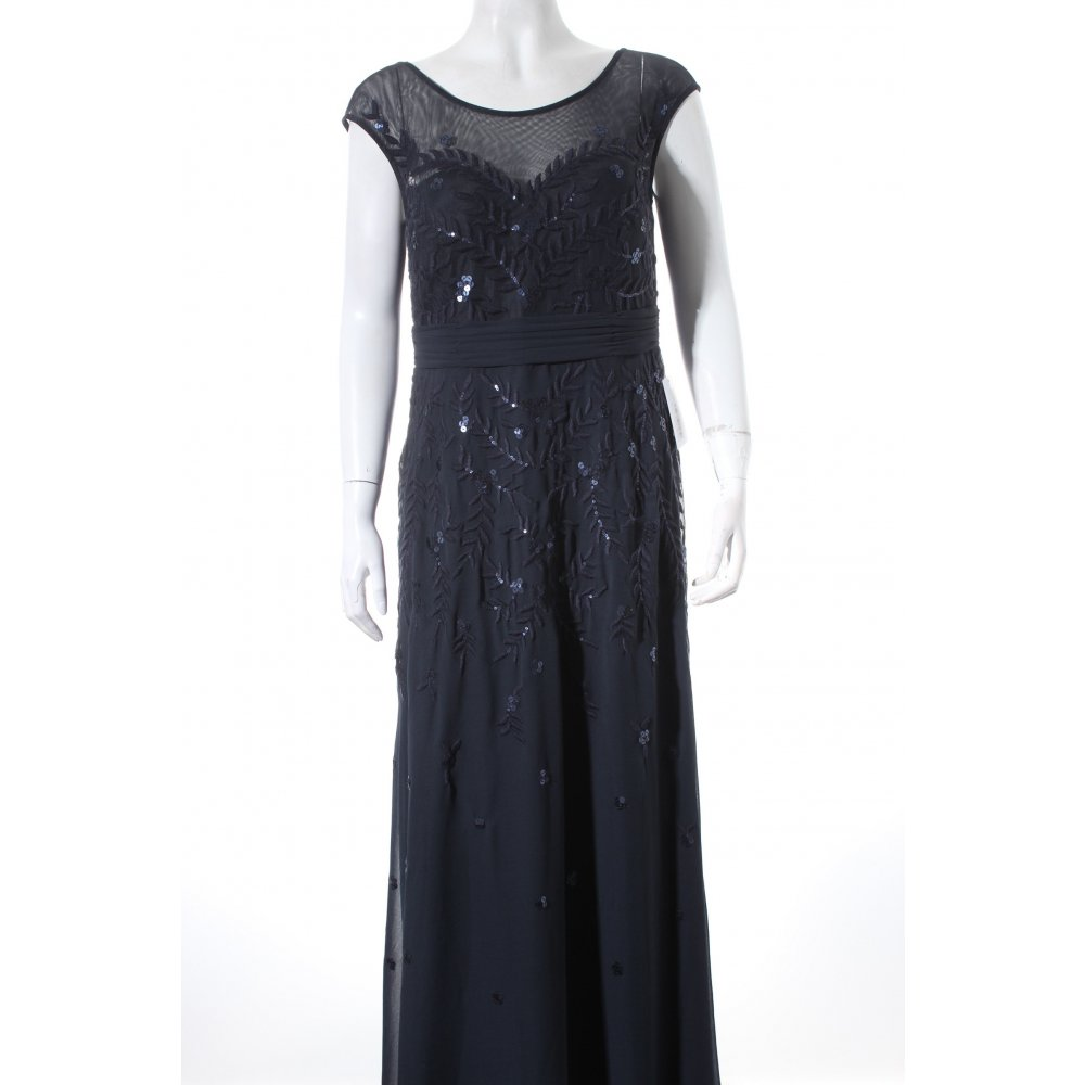 vera mont abendkleid dunkelblau paillettenverzierung damen gr de 40 kleid dress ebay. Black Bedroom Furniture Sets. Home Design Ideas