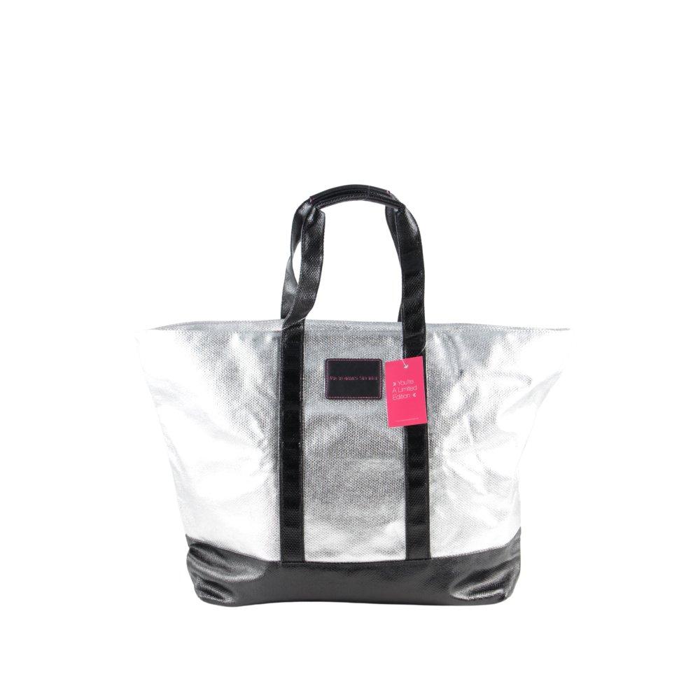 Dettagli su VICTORIA'S SECRET Borsa shopper argento nero stile casual Donna