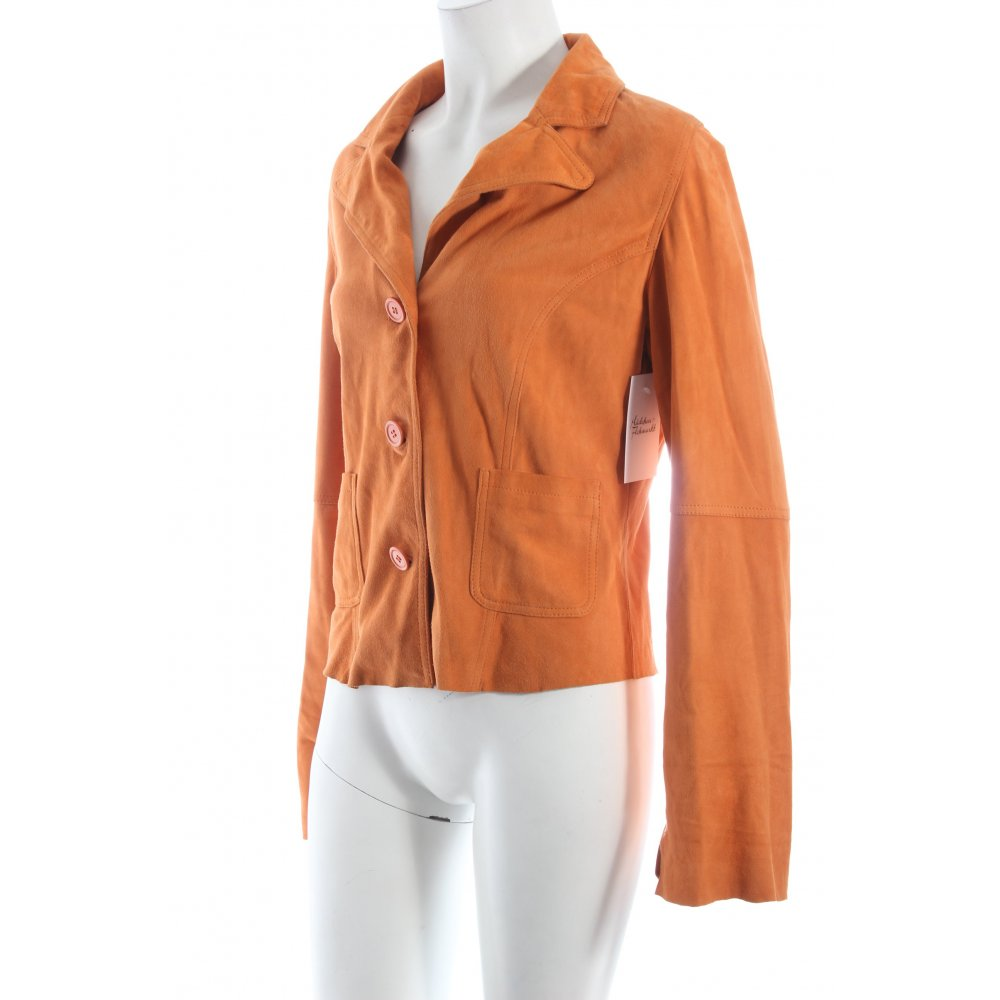 virmani leder blazer orange casual look damen gr de 38 leather blazer. Black Bedroom Furniture Sets. Home Design Ideas
