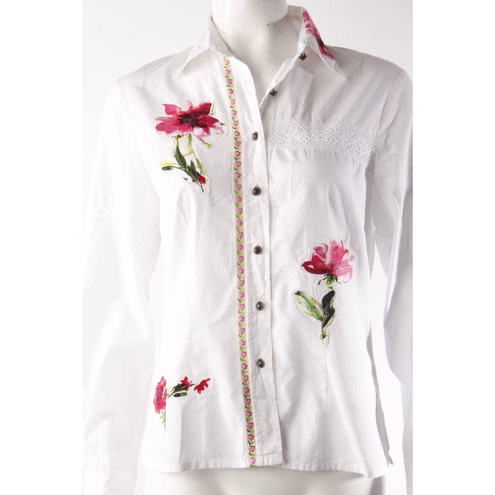 wallmann bluse mit blumen damen gr de 38 wei blouse langarm bluse ebay. Black Bedroom Furniture Sets. Home Design Ideas