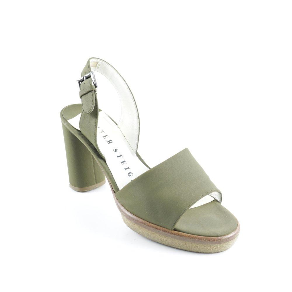 WALTER STEIGER Sandalo con cinturino e tacco alto grigioverde stile casual