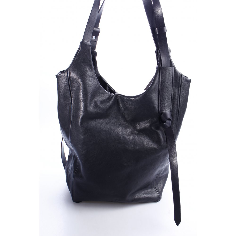 weltfremd shopper schwarz casual look damen tasche bag leder ebay. Black Bedroom Furniture Sets. Home Design Ideas
