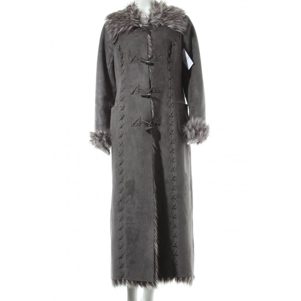 wintermantel grau extravaganter stil damen gr de 38 mantel coat winter coat ebay. Black Bedroom Furniture Sets. Home Design Ideas