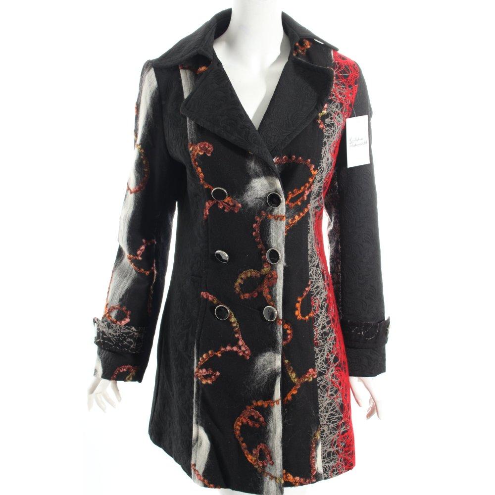 wollmantel wei rot extravaganter stil damen gr de 38 wei mantel coat ebay. Black Bedroom Furniture Sets. Home Design Ideas