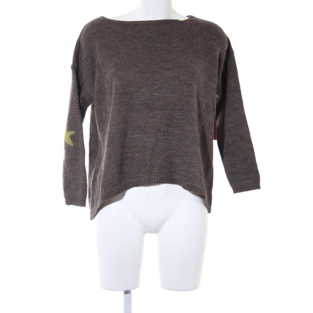 Dettagli su Maglione di lana marrone grigio verde chiaro modello stella stile semplice Donna