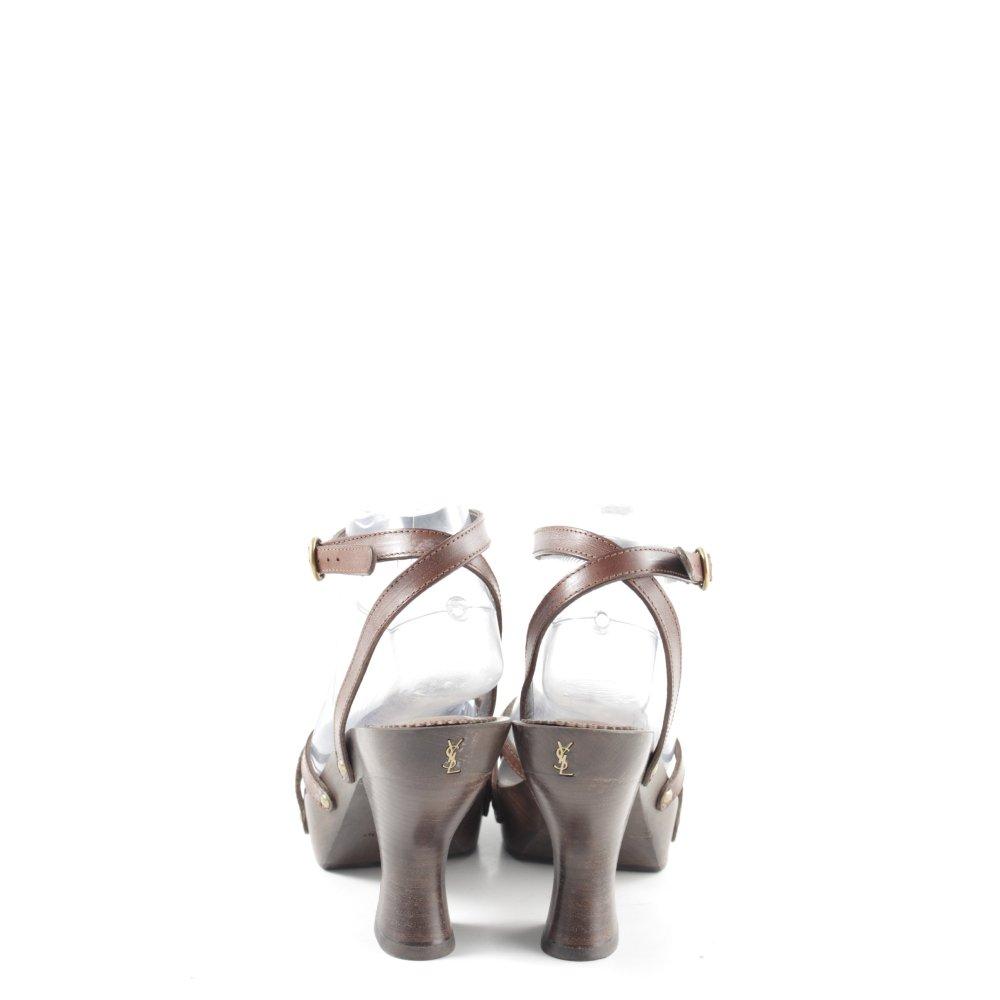 Détails sur Yves Saint Laurent Plateforme Sandales Marron Casual Look Femmes Taille FR 39 afficher le titre d'origine