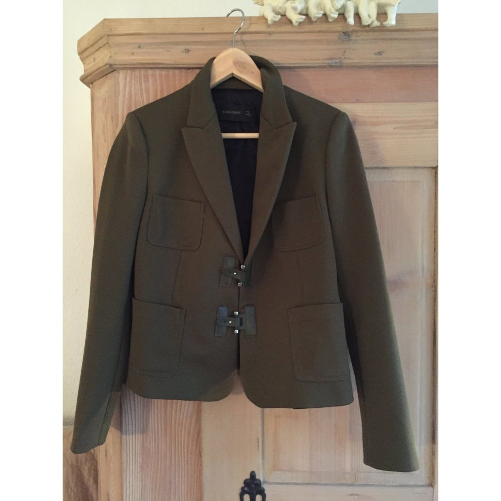 zara basic blazer olivgr n military look damen gr de 38. Black Bedroom Furniture Sets. Home Design Ideas