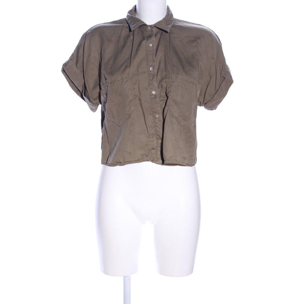 Dettagli su ZARA BASIC Camicia cropped marrone stile casual Donna Taglia IT 42