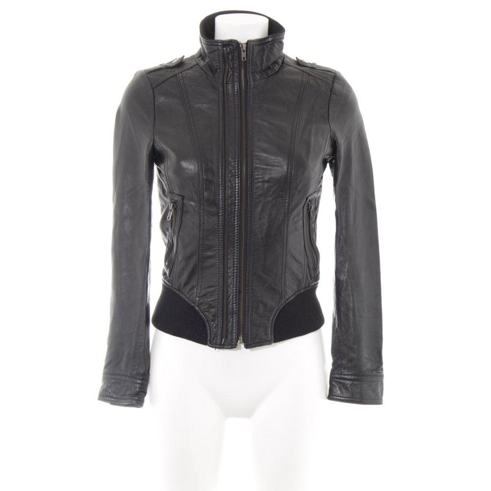 DAMEN LEDERJACKE ZARA Basic Outwear schwarz Gr. XS mit