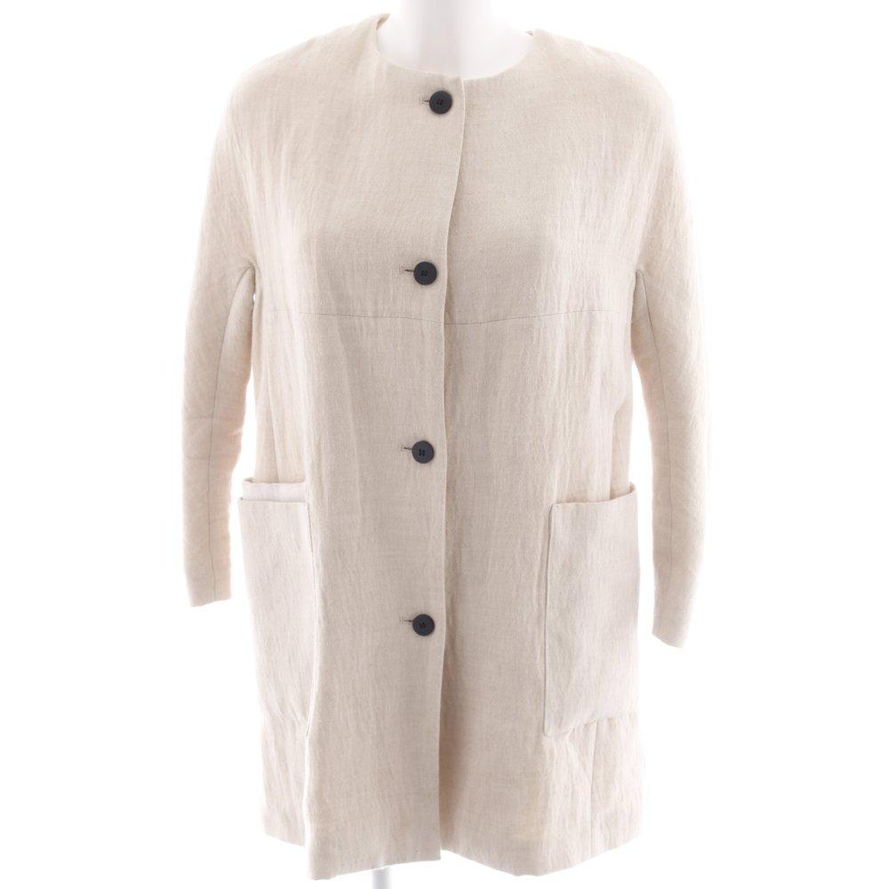 ZARA BASIC Abrigo de entretiempo crema Patrón de tejido look