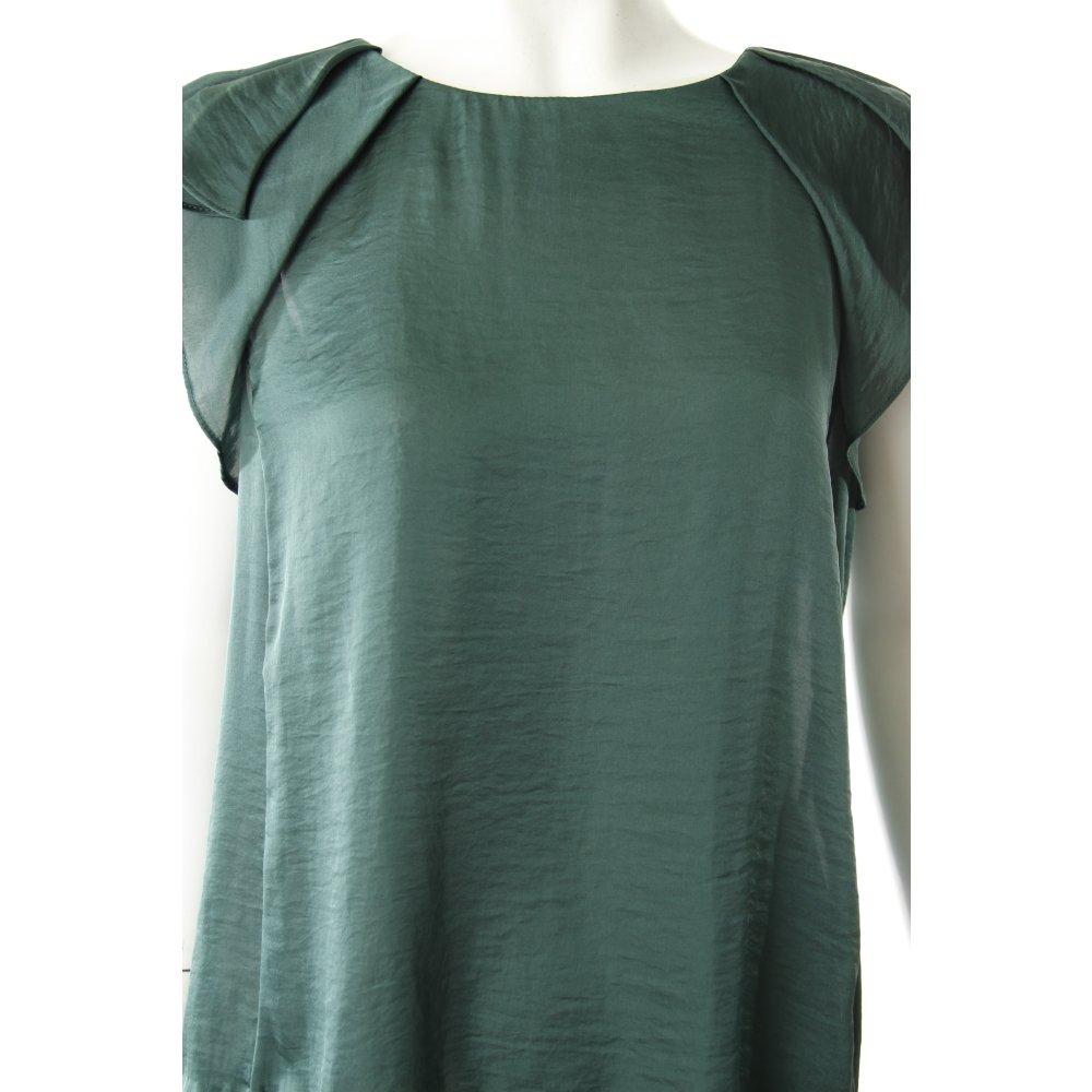 zara blusentop dunkelgr n glanz optik damen gr de 38 top blouse top. Black Bedroom Furniture Sets. Home Design Ideas