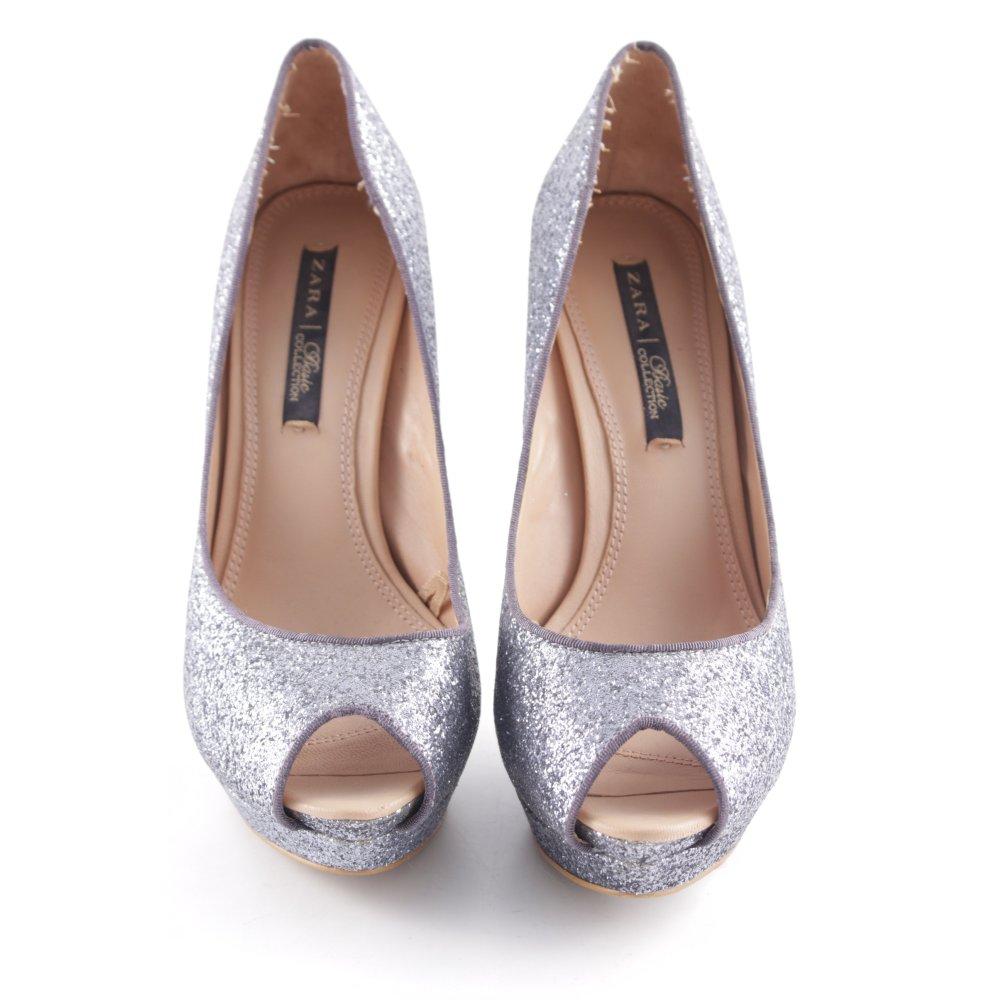 Detalles de ZARA Tacones altos gris estilo fiesta Mujeres Talla EU 38 Zapatos de mujer