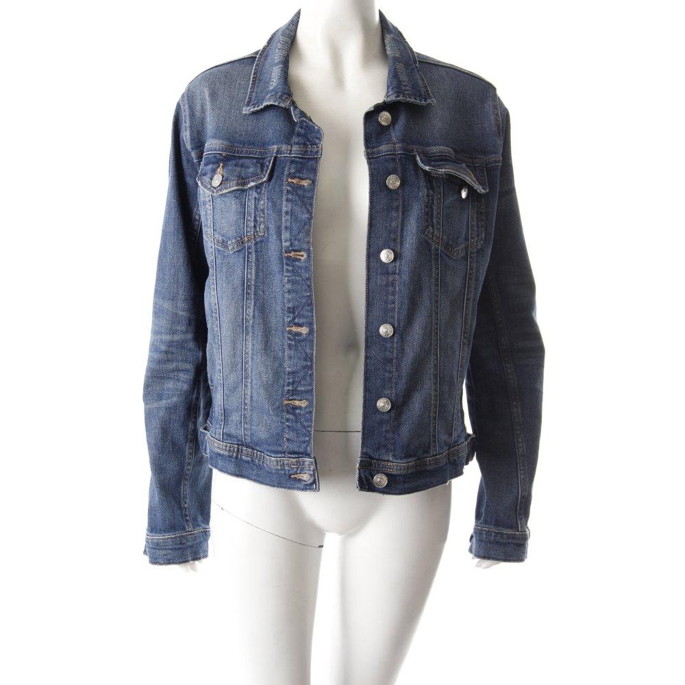 zara jeansjacke blau damen gr de 40 dunkelblau jacke jacket denim jacket ebay. Black Bedroom Furniture Sets. Home Design Ideas