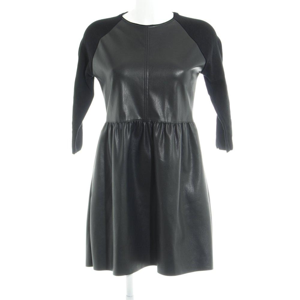 code promo 79ff4 df98d Détails sur ZARA KNIT Robe en cuir noir style décontracté Dames T 40