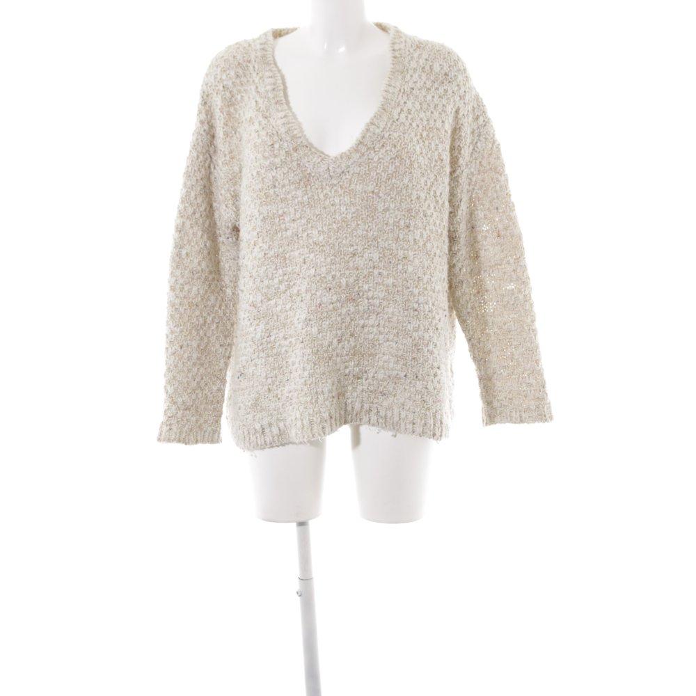 Dettagli su ZARA KNIT Maglione con scollo a V crema bianco sporco stile casual Donna