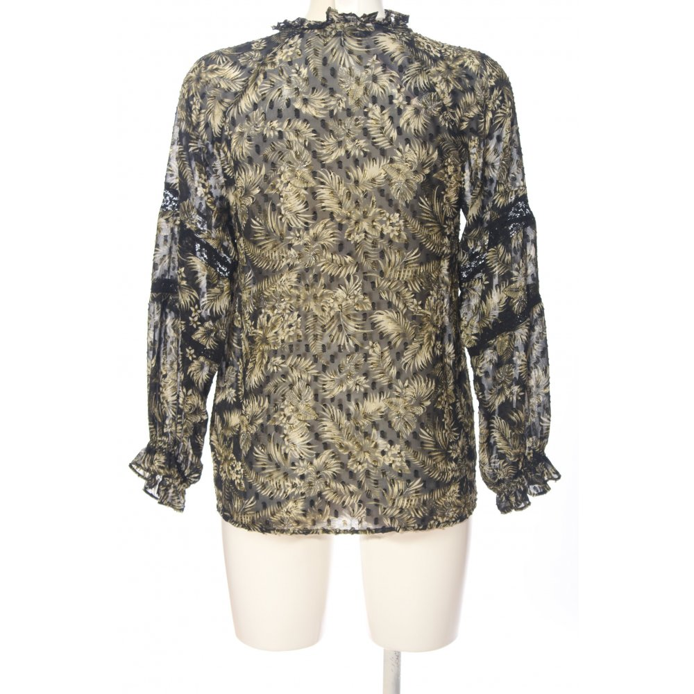 ZARA Camisa de manga larga negro color oro look casual