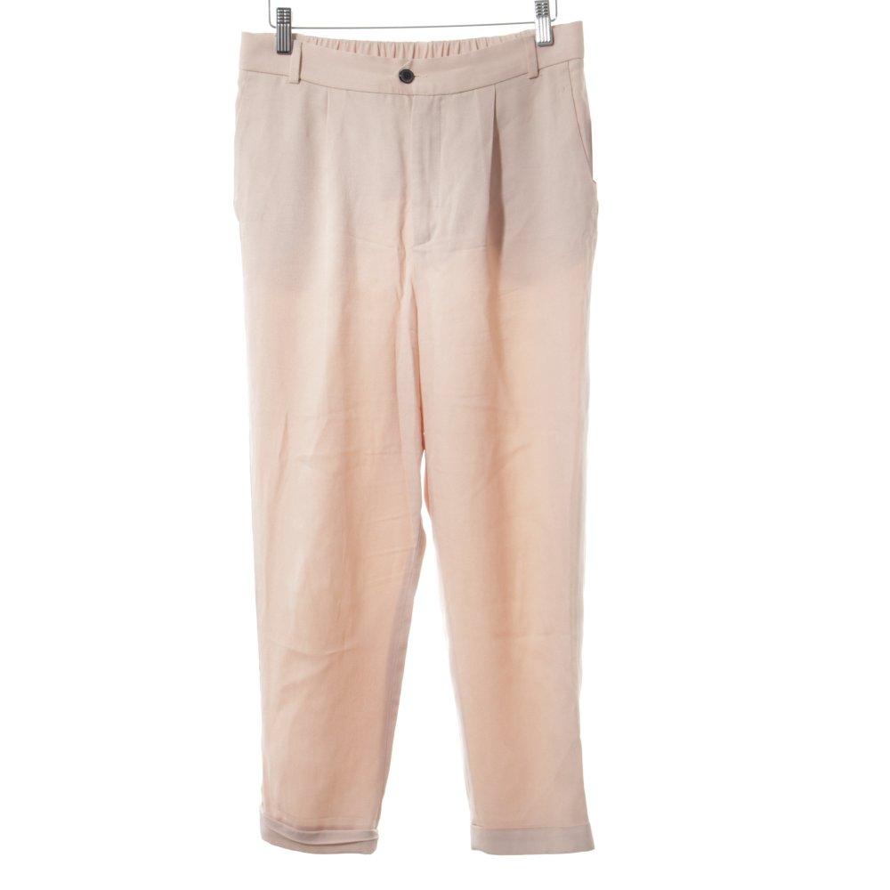 Dettagli su ZARA Pantalone jersey rosa antico elegante Donna Taglia IT 40