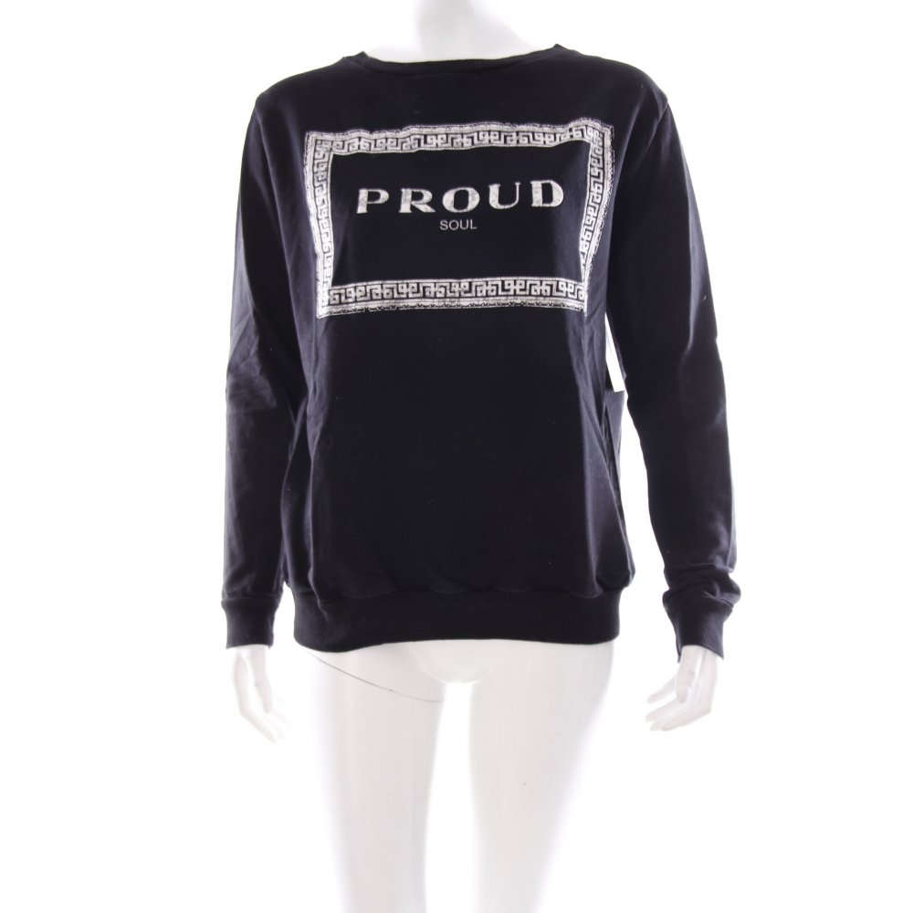 zara sweatshirt schwarz schriftzug gedruckt damen gr de. Black Bedroom Furniture Sets. Home Design Ideas