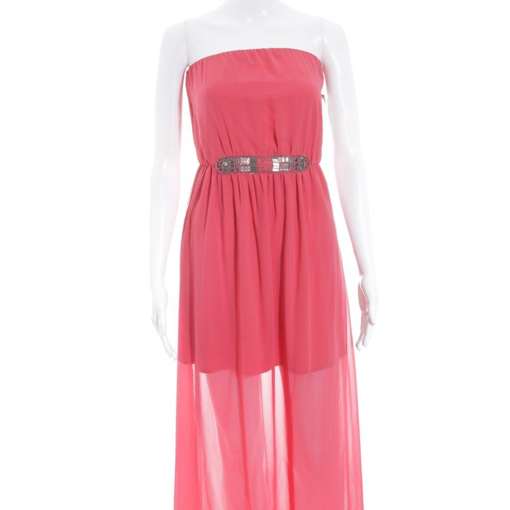 ZARA TRAFALUC Vestido de noche salmón-rojo frambuesa elegante ...