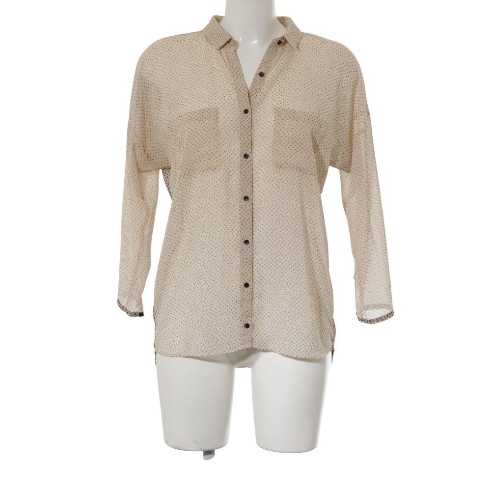 Dettagli su ZARA TRAFALUC Camicia blusa rosa pallido blu scuro stampa astratta stile casual