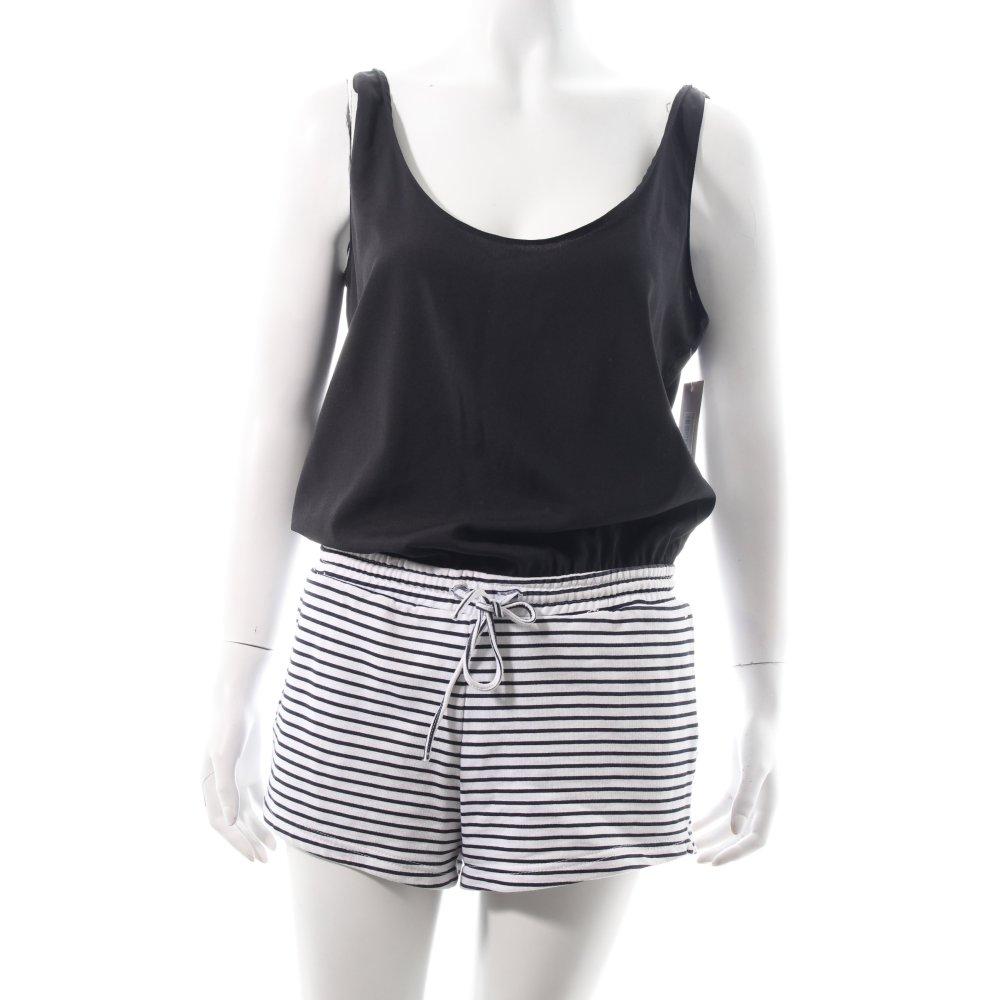 Dettagli su ZARA TRAFALUC Tuta nero bianco strisce orizzontali stile casual Donna Pantalone